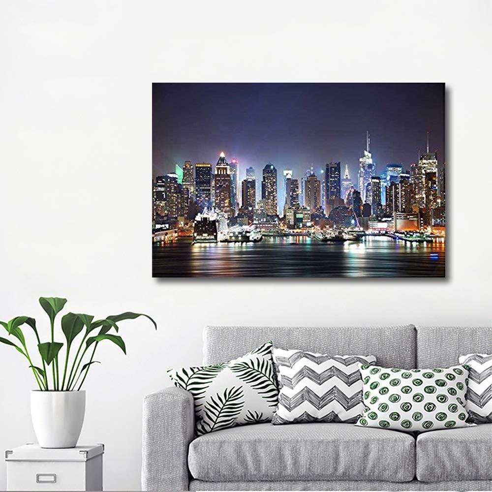 wall26 Canvas Prints- New York City Manhattan Skyline Panorama at Night Over Hudson- 32 x 48