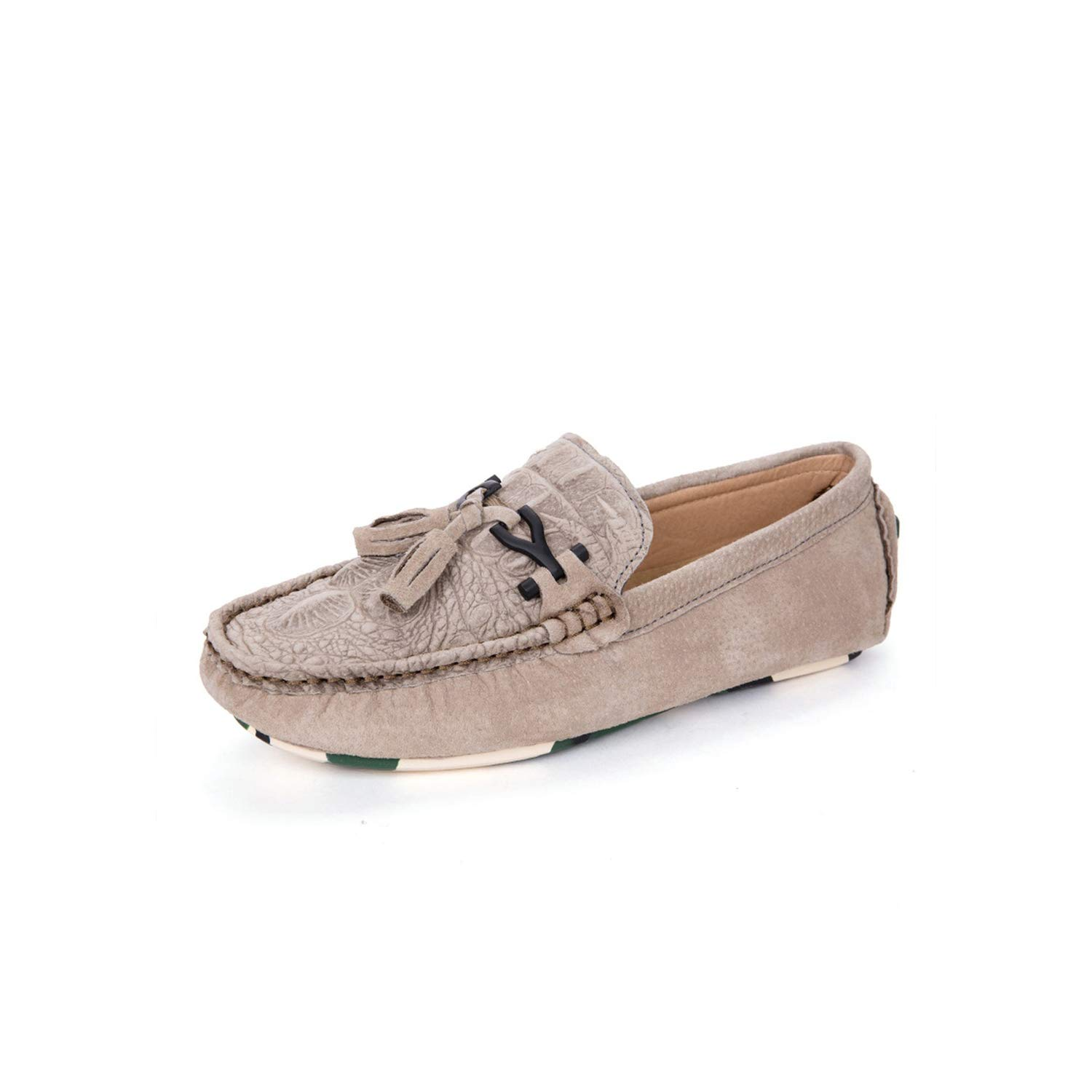 Khaki and Crocodile Pattern Peas shoes Men's Leather of The Wild Casual Leather shoes