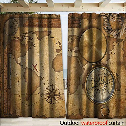 (warmfamily Map Indoor Outdoor Curtain Aged Vintage Treasure Map Ruler Rope Old Compass Antique Adventure Discovery W120 x L84 Brown Pale Brown)