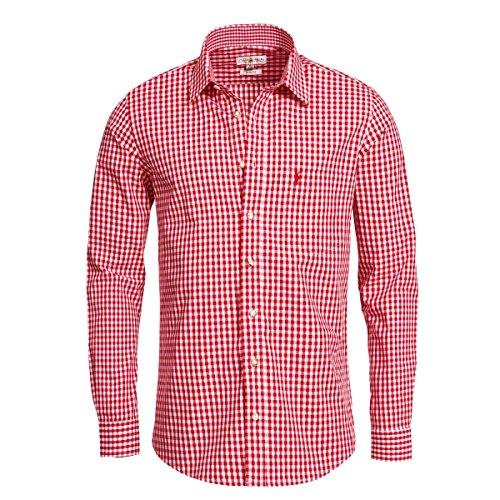 Trachtenhemd Slimline in rot von Almsach, Größe:L;Farbe:Rot