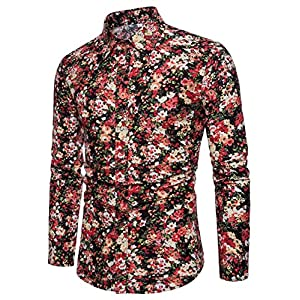 EMAOR Mens Stylish Floral Long Sleeve Shirt
