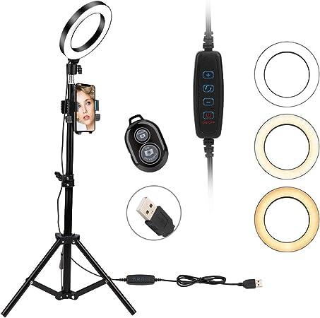 Todo para el streamer: Anillo de luz LED, YOUTHINK 6'' de Brillo Soporte Trípode Ajustable Soporte para Teléfono Bluetooth Kit luz de Control Remoto para Maquillaje Selfie, Vivo Youtube Transmisión Grabación de vídeo Vlog