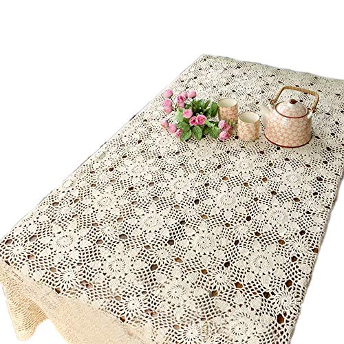 KEPSWET Vintage Handmade Crochet Lace Cotton Tablecloth Rectangular Rural Floral Table Doilies Table Cloth Furniture Decor Sofa Pad (59