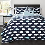 5 Piece Kids Dark Blue Aqua White Whales Theme Quilt Full Queen Set, Fun All Over Underwater Animal Bedding, Cute Stylish Geometric Ocean Sea Life Multi Whale Themed Pattern, Light Teal Navy