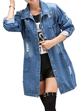 026d4dcd69a WAWAYA Women Ripped Destroyed Loose Long Denim Jacket Jean Trench Coat at  Amazon Women s Coats Shop