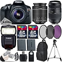 Canon EOS Rebel T6 DSLR Camera + 18-55mm IS II Lens + 70-300 Di LD Macro Lens + Canon Speedlite 430EX III RT + 64GB Storage + Backup Battery + UV-CPL-FLD Filter Kit - International Version