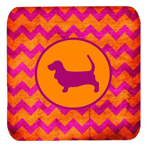 Orange Hounds (Caroline's Treasures SDK1011-B-FC Basset Hound Chevron Pink and Orange Foam Coasters (Set of 4), 3.5