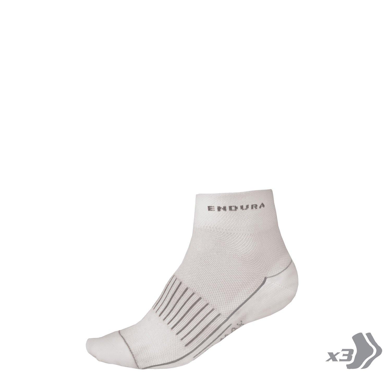 Endura Womens COOLMAX Race Cycling Sock (Triple Pack) White, OS
