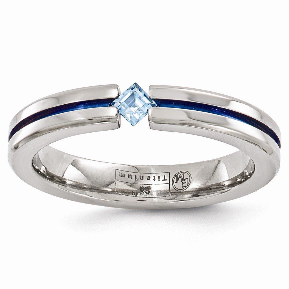 FB Jewels Solid Edward Mirell Titanium Blue Topaz And Blue Anodized 4mm Wedding Band Size 9.5