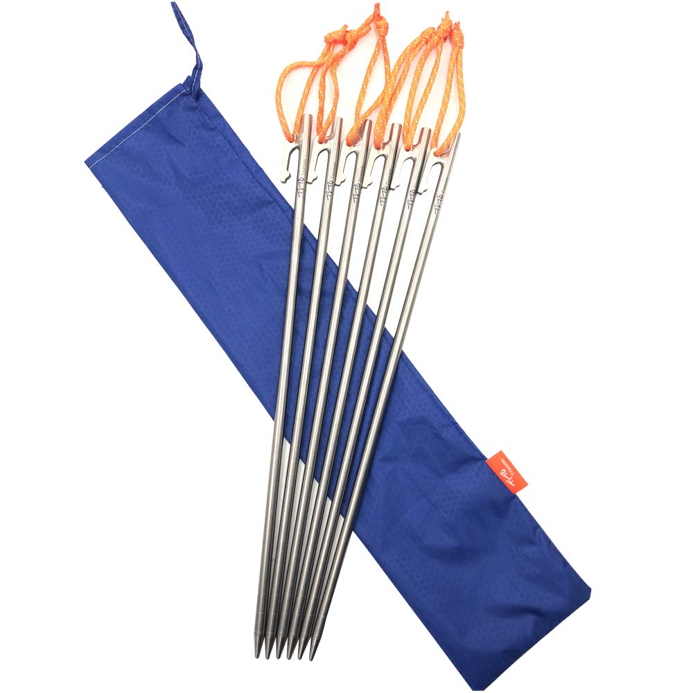 TiTo High Strength Titanium Alloy Tent Stakes for Camping Tent Diameter8mm (8×400(6pcs)) by TiTo