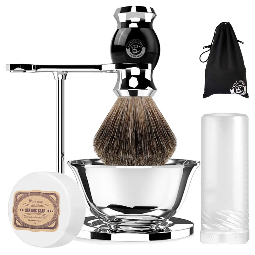 ACRIMAX Badger Shaving Brush Set with Shave Soap, Travel Case, Straight Shaving Stand and Soap Bowl Set Compatible with Manual Safety Razor, Gillette Razor and Other Razors, Fathers Day Gift for Dad