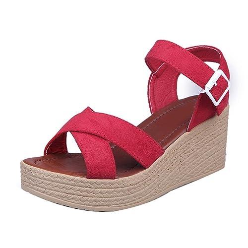 Sandalias de vestir, Culater Zapatos mujer plataforma bajos Zapatillas (39, Rojo)
