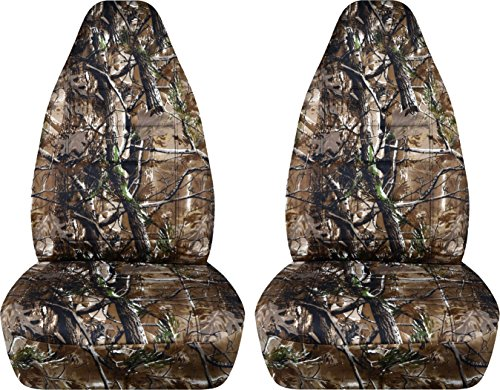 Camouflage Car Seat Covers: Woods Camo - Semi-Custom Fit - Front - Will Make Fit Any Car/Truck/Van/SUV (22 Prints) ()