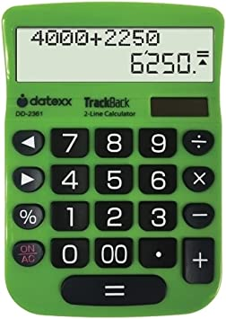 Datexx 2-Line TrackBack Desktop Calculator