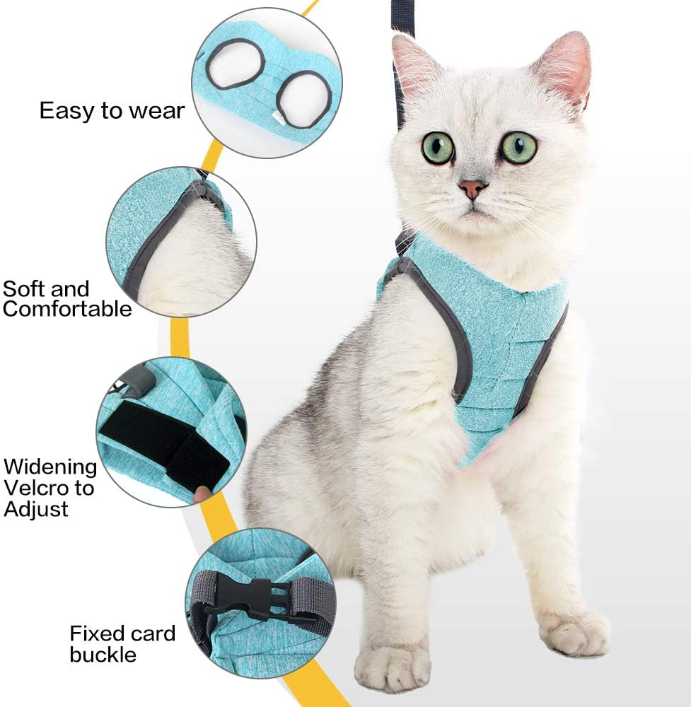 EVEL Cat Harness Leash Straps Soft and Comfortable Cat Walking Jacket with Running Cushioning and Anti-Escape for Puppies with Cationic Fabric