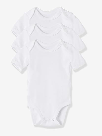 VERTBAUDET Lot de 3 bodies bébé pur coton blanc manches courtes Blanc 1M -  54CM 71554d820e2