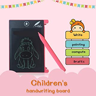 Elever 1Pc LCD Writing Board, Unisex 4.4inch LCD Writing Pad Tablet, Drawing Memo Board Mini Writing Pad for Kids Girls Boys (Pink)