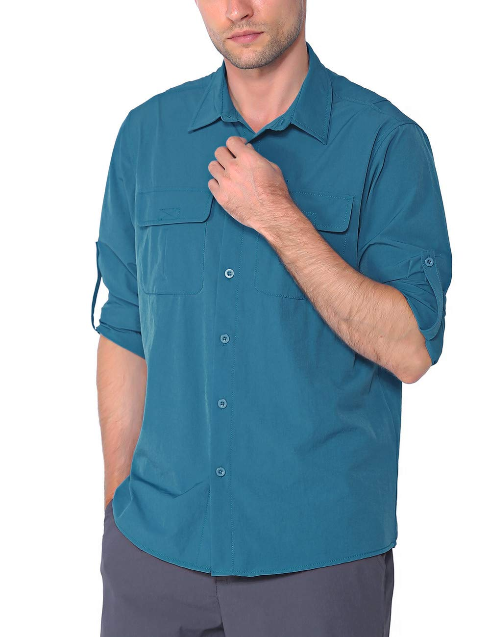 Nonwe Mens Hiking Camping Shirts Roll-Up Long Sleeve Quick Dry