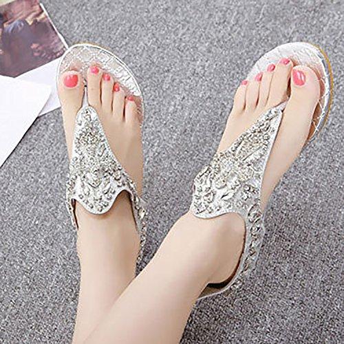 silver Women Rhinestone Beaded 2 Odema Wedge Sandals Summer Heel 8qC1n4aBw
