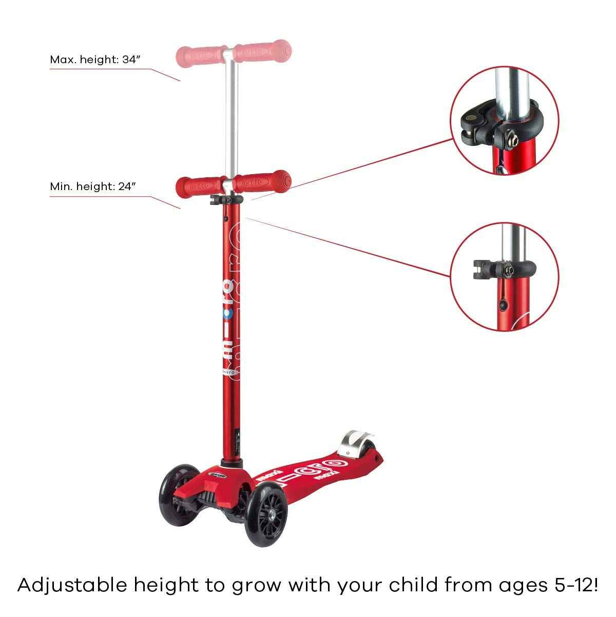 Micro Maxi Deluxe Kick Scooters (Red) by Micro Kickboard (Image #3)