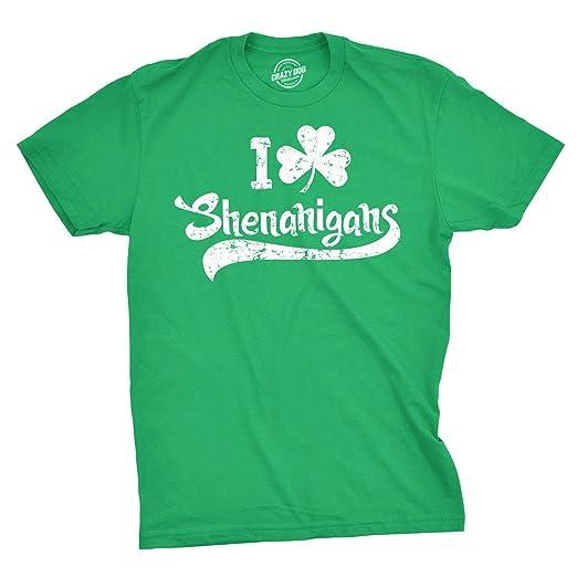 e38e8574 Amazon.com: Mens I Clover Shenanigans T Shirt Funny Irish Clover Tee ...