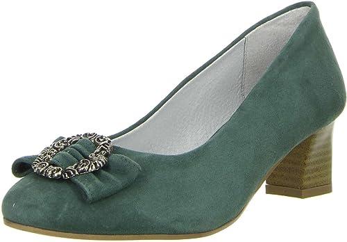 Vista Damen Trachtenschuhe Almhaferl Pumps grün: