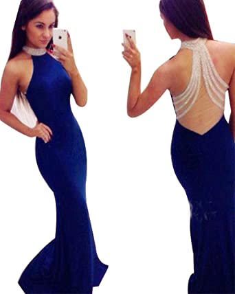 ea1e1a8301c4 YuNuo Shinning Halter Royal Blue Evening Dress Long Sexy Mermaid Evening  Dresses Sheer Formal Dress Girls Dinner at Amazon Women's Clothing store: