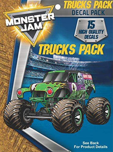 Monster Jam Trucks Decal Pack for MacBook, Laptop, Vehicle - Includes 15 Stickers -