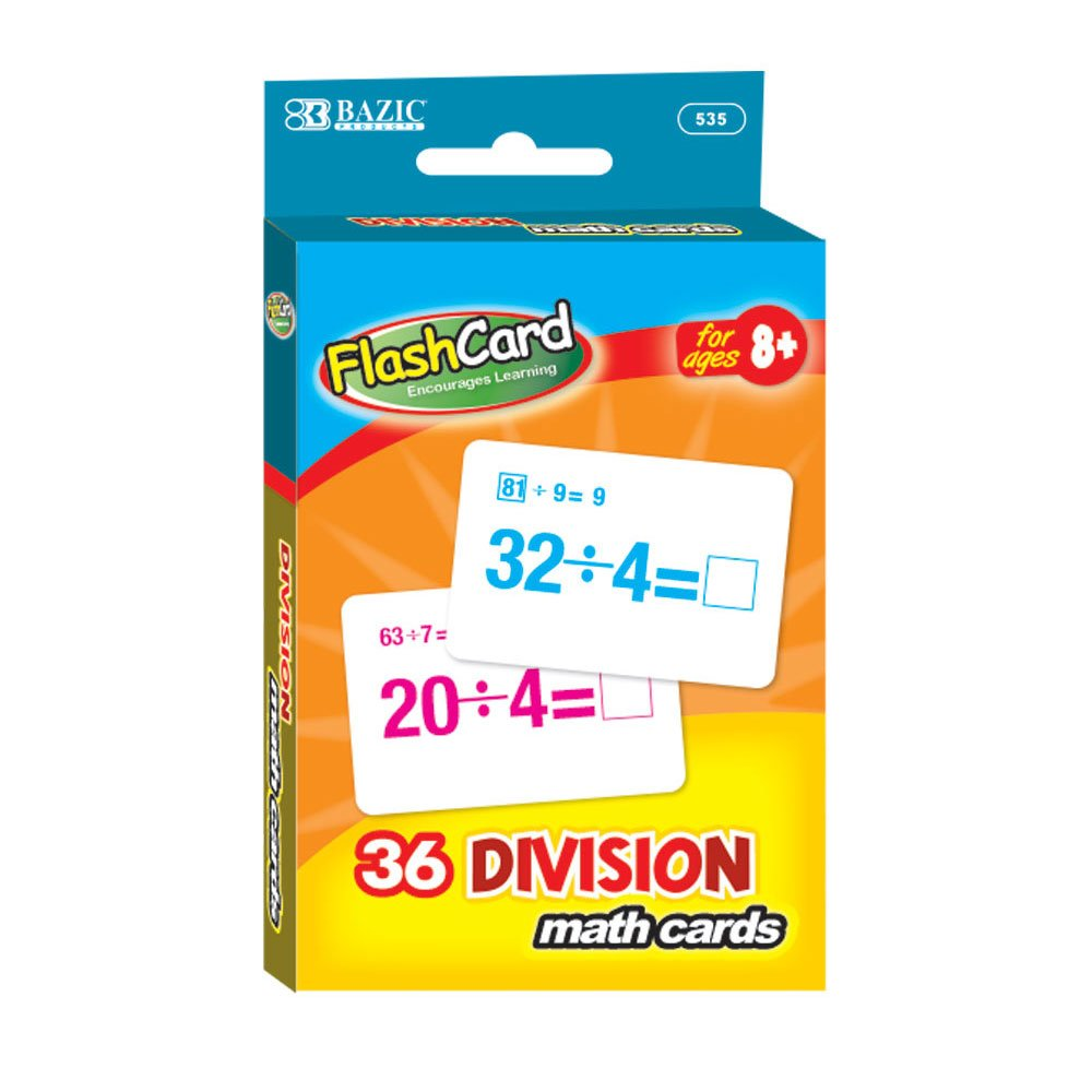 BAZIC Division Flash Cards (36/Pack), Case of 24