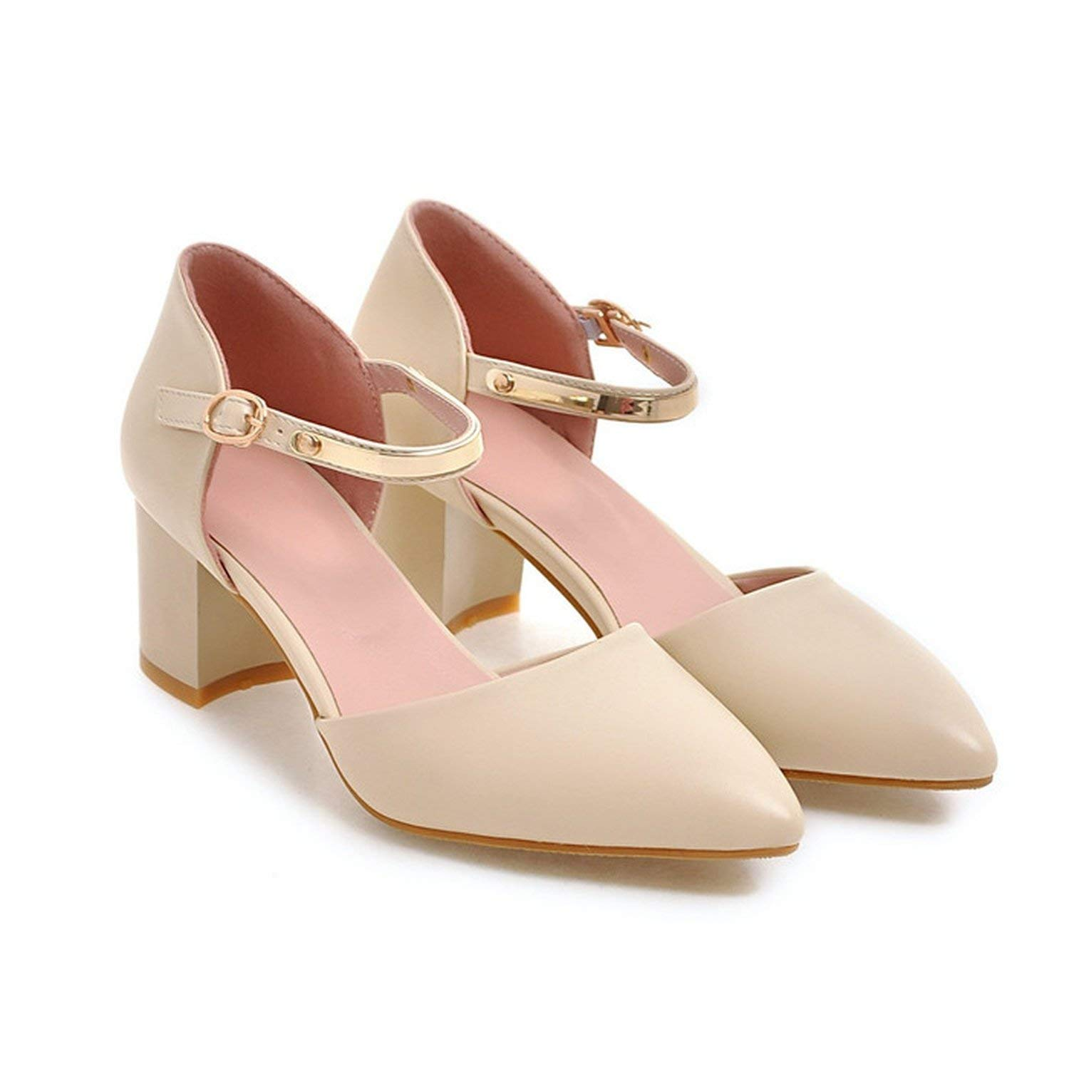 Beige coolemon Women Pumps High Heels Lady shoes Ankle Strap Pointed Toe shoes Thick Heel Female Pumps 2018 Autumn Big Size 33-43 bluee