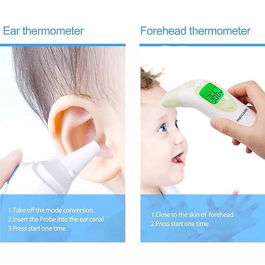 Termómetro de frente y oído para bebé, Infrarrojo Digital Médico para niños y adultos 3 EN 1 Termómetro con memoria y alarma de fiebre - FDA y CE aprobado: ...