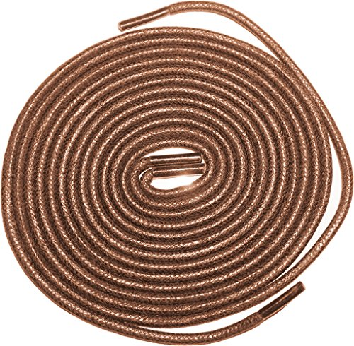 """Shoeslulu 35"""" Premium Round Waxed Canvas Shoelaces Bootlaces (35 in. (90 cm) Pack of 2, Cigar Brown)"""