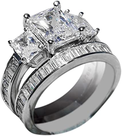 Haluoo Sterling Silver Bridal Set Round Cubic Zirconia Cz Solitaire Engagement Wedding Band Sapphire Diamond 2 Piece Ring Set