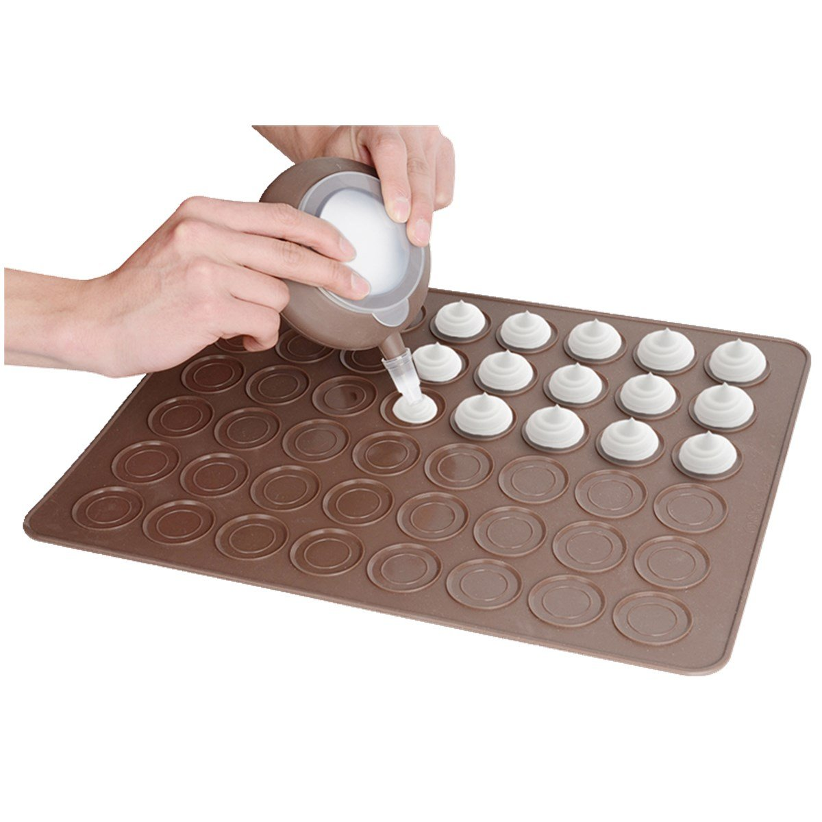 Vigorlife Macaron Making Set 48 - Capacity Nonstick Macaron Silicone Baking Mats Cakes Mould Includes Trays Bakeware Decorating Pen Icing Tips and 4 Nozzles-cup cake muffin pastry cream icing
