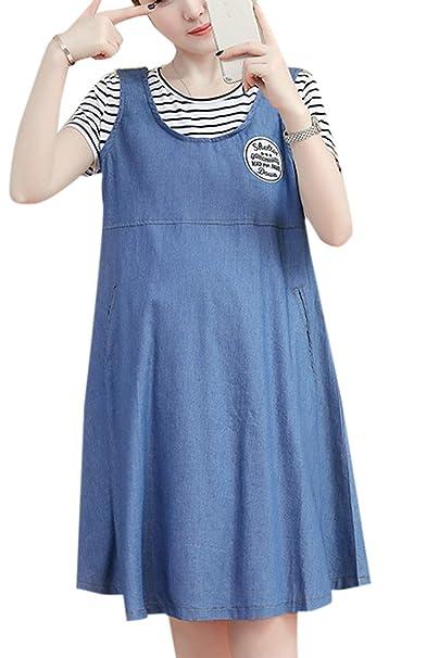 Jumojufol Las Mujeres Vestido De Maternidad Embarazo De Manga Corta Vestidos Casuales De Enfermeria Azul S