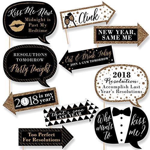 Funny New Year's Eve - 2018 New Years Eve Party Decorations - Photo Booth Props Kit - 10 Piece