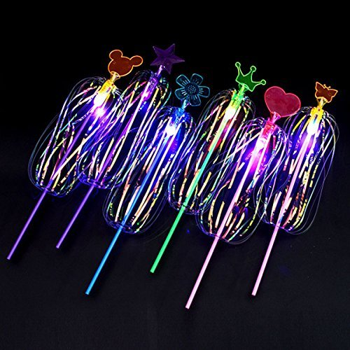 MODEOR 3 Pack Light-up Magic Spinning Stick con Light Spin Bubble ...