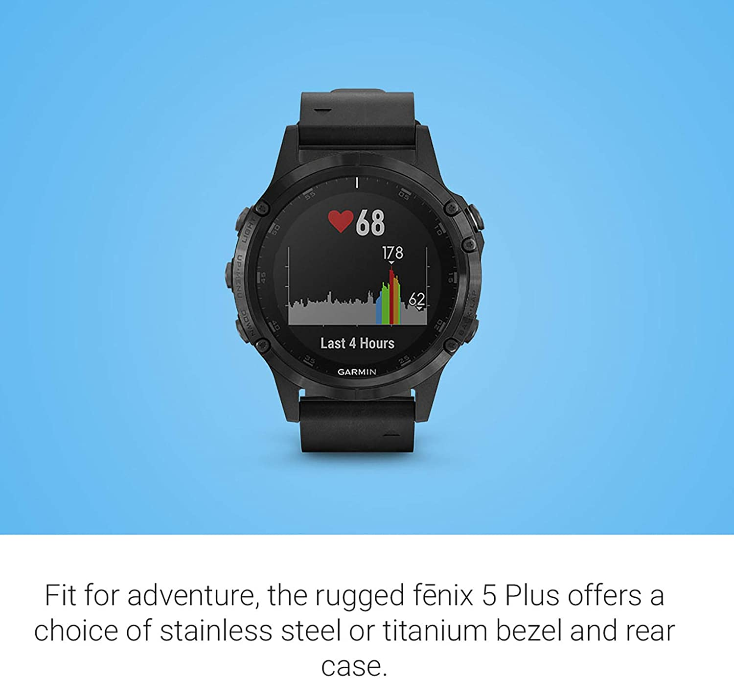 Features Color Topo Maps Black//Silver Premium Multisport GPS Smartwatch Heart Rate Monitoring Garmin fēnix 5 Plus Music and Pay Europe