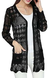 a7949d64f7fff EachWell Women Hollow Crochet Cable Knit Pockets Open Front Cardigan Sweater