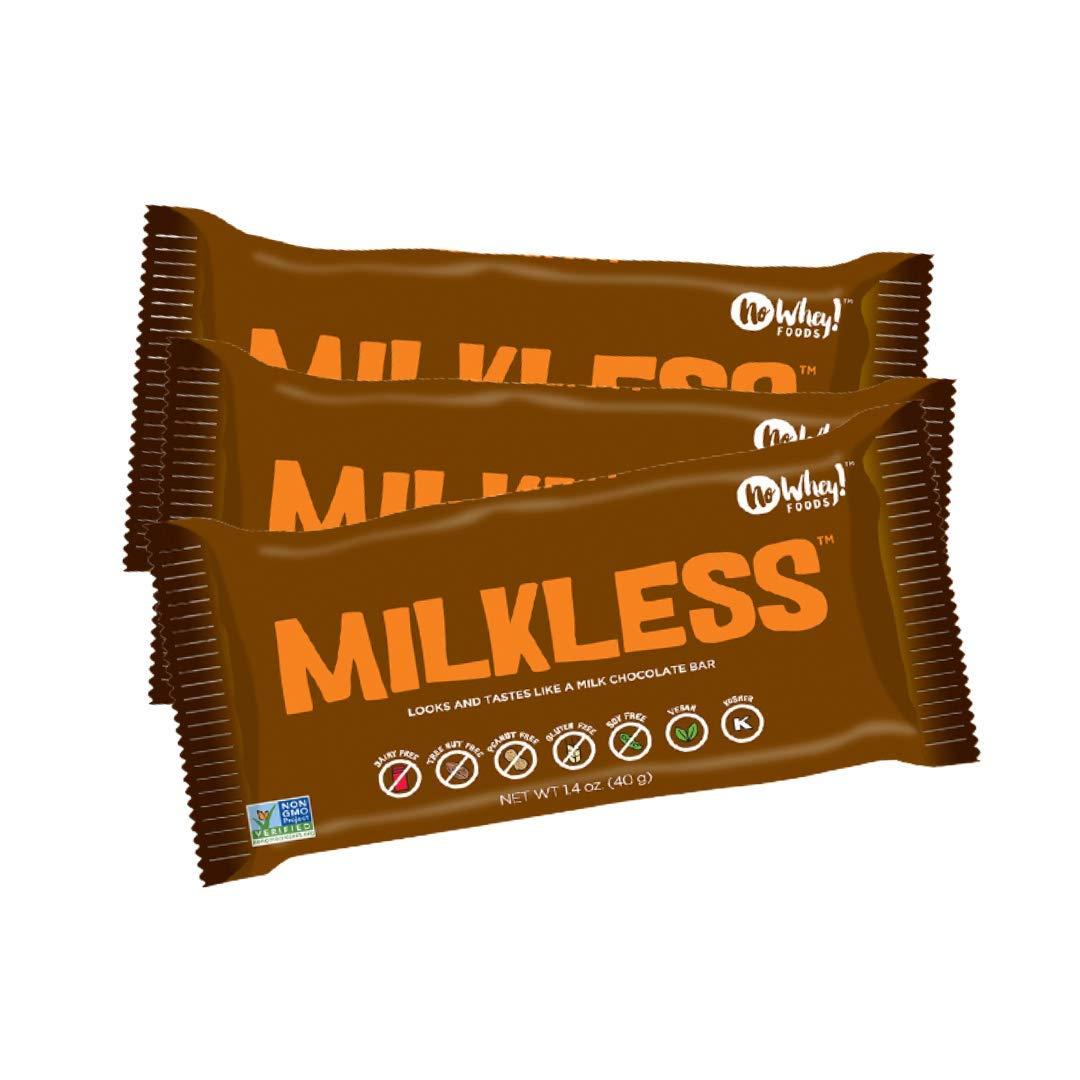 No Whey Foods - Milkless Chocolate Bars (3 Pack) - Vegan, Dairy Free, Peanut Free, Nut Free, Soy Free, Gluten Free