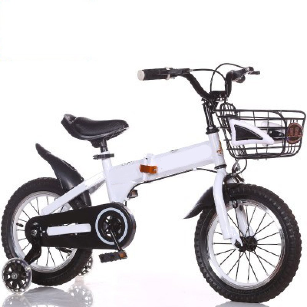 ZCRFY Bicicleta para Niños Pequeños para Bebés Estudiante Ajustable Plegable Masculino Y Femenino Freno Seguro Cómodo De Acero Al Carbono Bicicleta Ligera Regalo De Moda,White-16Inch