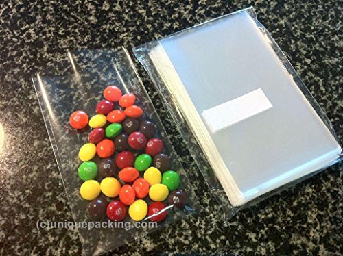 100 Pcs 3x5 (O) Clear Flat Cello / Cellophane Bags Good for Candies Cookie (Cello Treat Bags)
