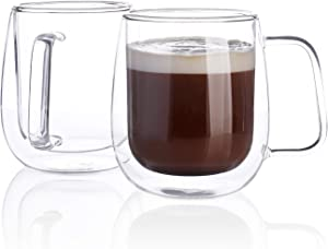 Sweese 418.101 Glass Coffee Cups Double Wall Glass Set of 2 Insulated Latte Mugs,12 oz