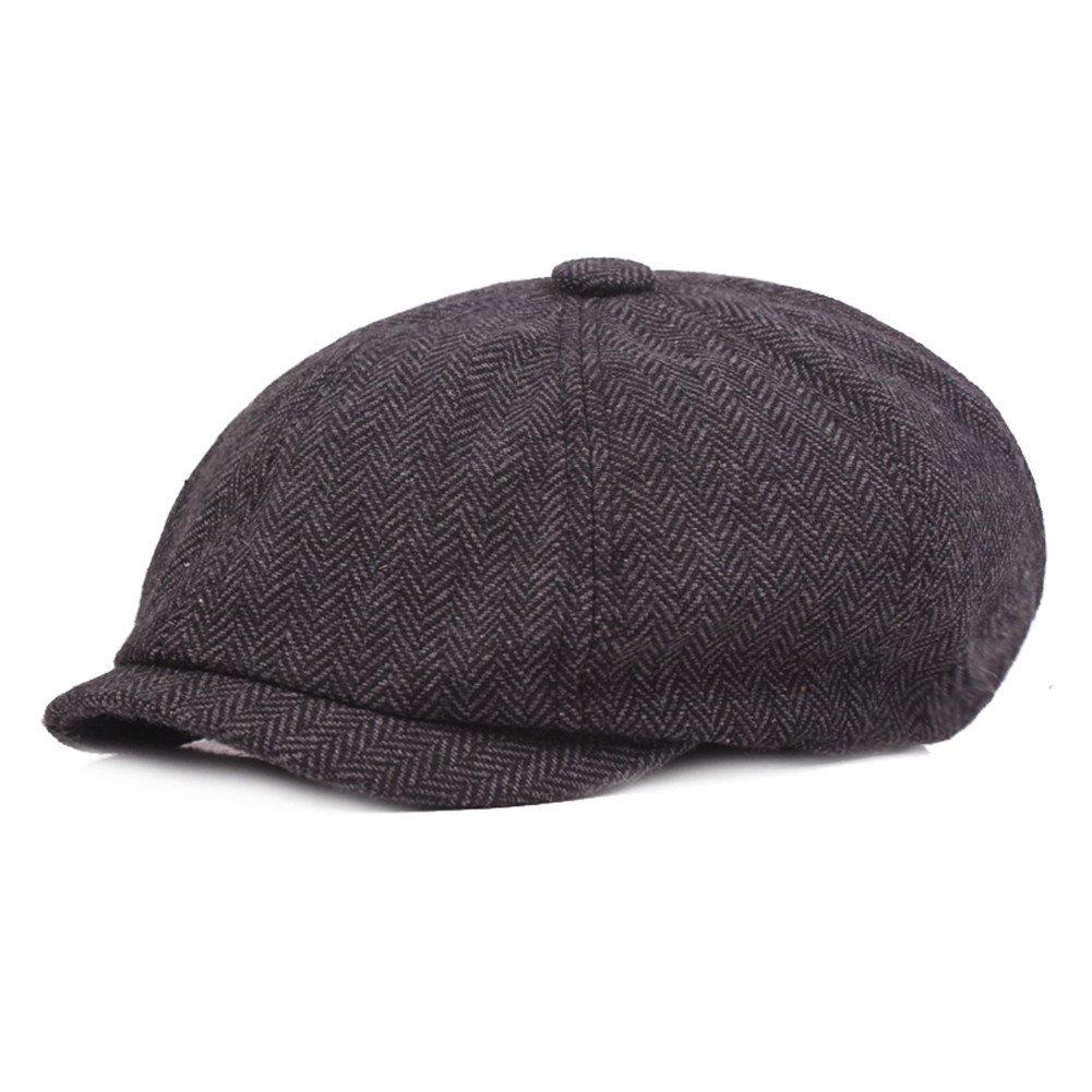 VGLOOK Unisex Womens Mens 8 Panel Herringbone Flat Cap newsboy Bakerboy Gatsby Vintage Style Hat