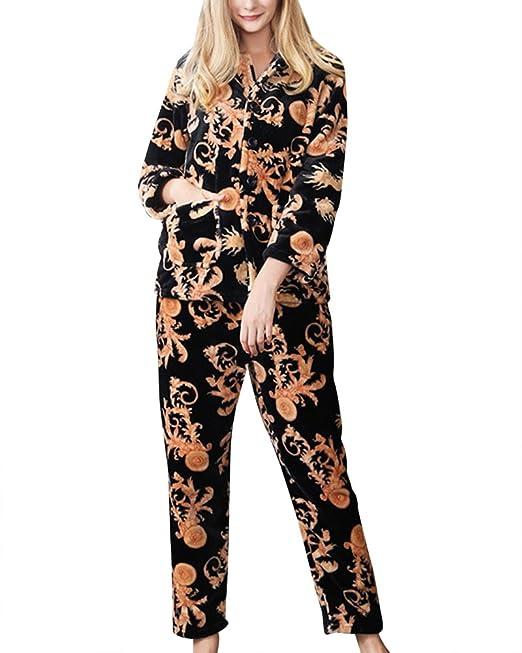 Mujer Otoño E Invierno Set de 2 Piezas Ropa Pijama Manga Larga: Amazon.es: Ropa y accesorios