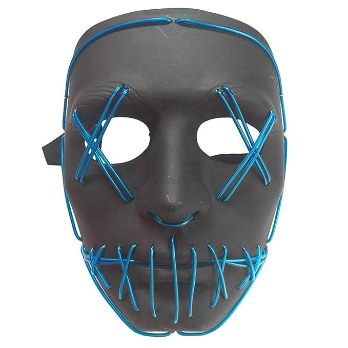 Amazon.com: Jiyaru Halloween Glowing Mask El Wire Scary Masquerade ...