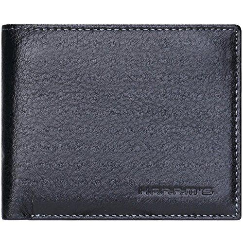 Harrms Best Mens Handmade Genuine Leather with Designer,thin Bifold Wallet Italian 100% Cowhide Style Luxury