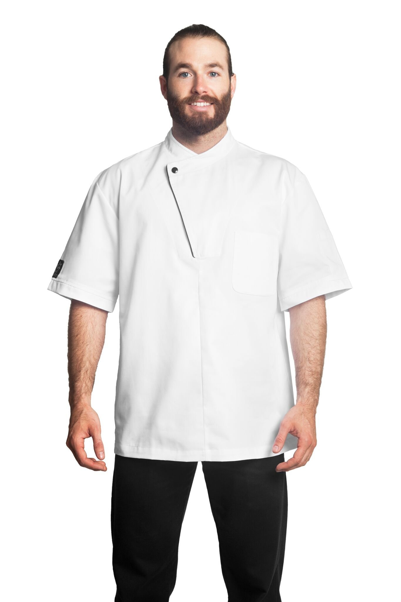 Bragard Dallas Short Sleeve Lightweight Chef Jacket Stylish Black Piping Poly Cotton - White | Sizes 54 US | by Bragard