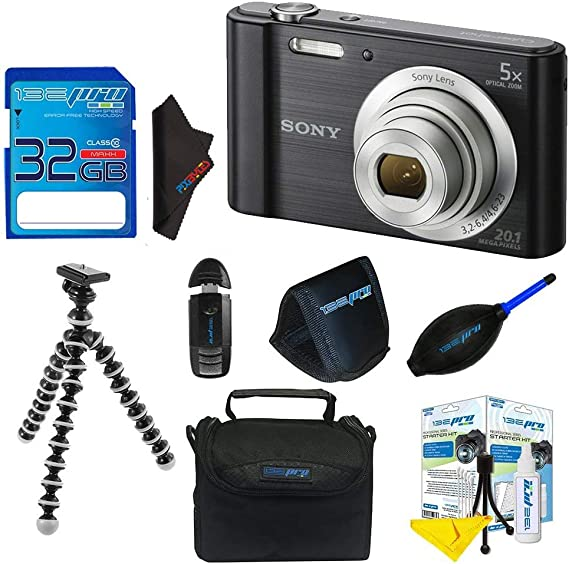 Sony Cyber-Shot DSC-W800 Digital Camera (Black) + 32GB Pixi-Basic I3ePro Accessory Bundle