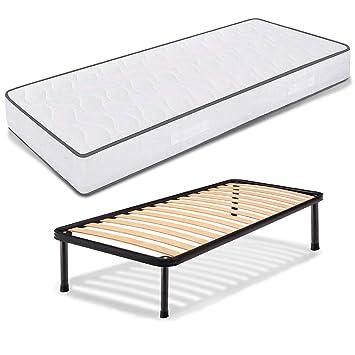 Colchón individual ortopédico y WaterFoam, de poliuretano expandido, 80 x 190 cm, altura 18 cm + somier de hierro con láminas de haya ortopédicas: ...